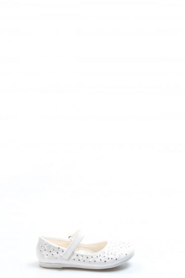 Beyaz Rugan Kız Çocuk Babet Ayakkabı 891PA508