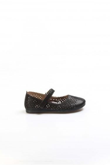 Siyah Simli Kız Çocuk Babet Ayakkabı 891PA509