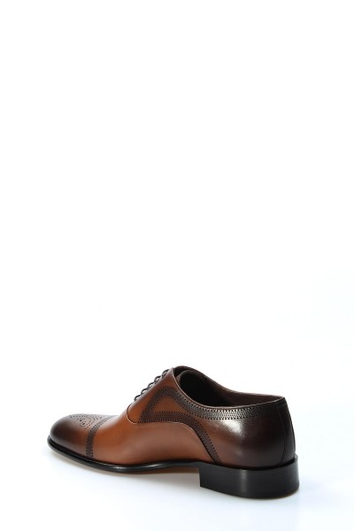 Hakiki Deri Kösele Taba Antik Erkek Klasik Ayakkabı 893MA4403