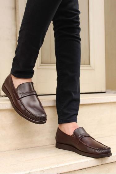 Hakiki Deri Kahve Zigana Erkek Klasik Ayakkabı 893MA5201