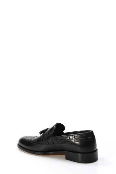 Hakiki Deri Kösele Siyah Antik Erkek Klasik Ayakkabı 893MA8802-1