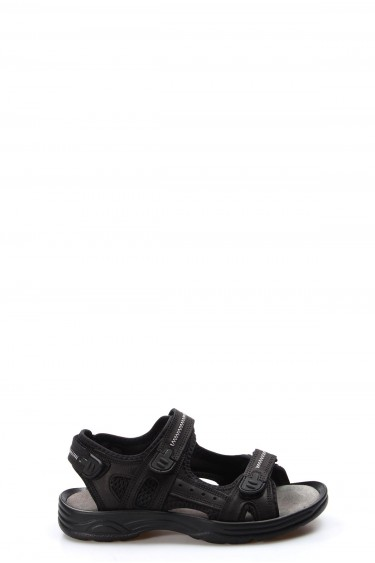 Hakiki Deri Siyah Erkek Klasik Sandalet 907GA1517