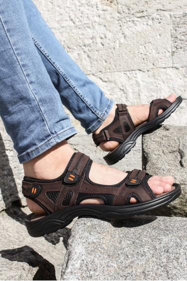 Hakiki Deri Kahve Erkek Klasik Sandalet 907MA1517