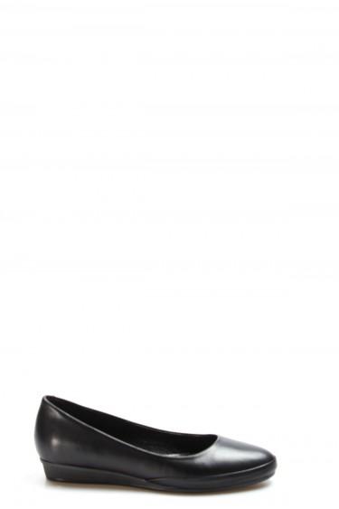 Hakiki Deri Siyah Kadın Babet Ayakkabı 916ZA1205