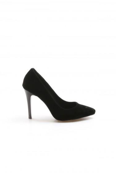Siyah Süet Kadın İnce Topuk Ayakkabı 917ZA7000
