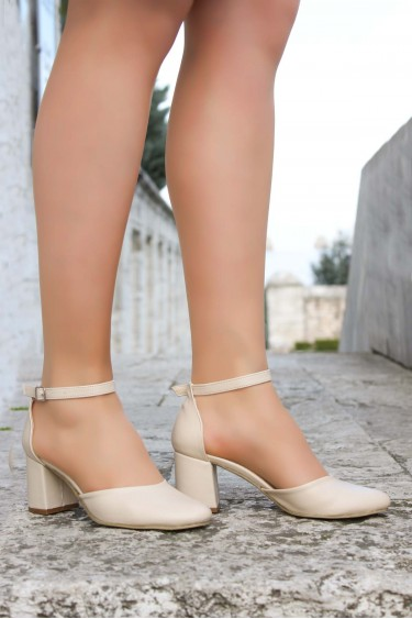 Bej Kadın Kalın Topuklu Ayakkabı 917ZA701
