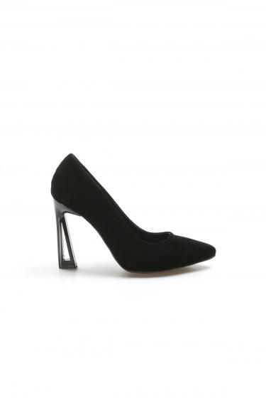 Siyah Süet Kadın İnce Topuk Ayakkabı 917ZA7002