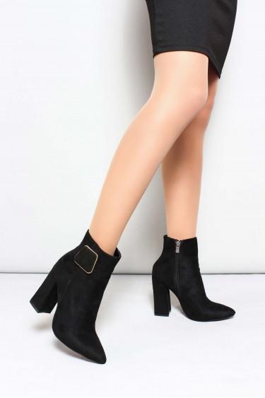 Siyah Süet Kadın Kalın Topuklu Bot 918SZAB-520-1