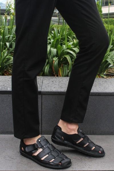 Hakiki Deri Siyah Erkek Klasik Sandalet 927MA021