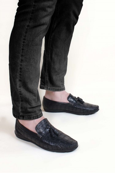 Hakiki Deri Siyah Baskılı Erkek Casual Ayakkabı 932MA111