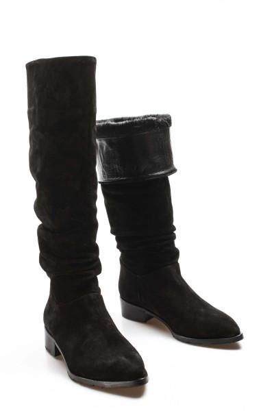 Hakiki Deri Siyah Süet Kadın Klasik Çizme 941SZA100