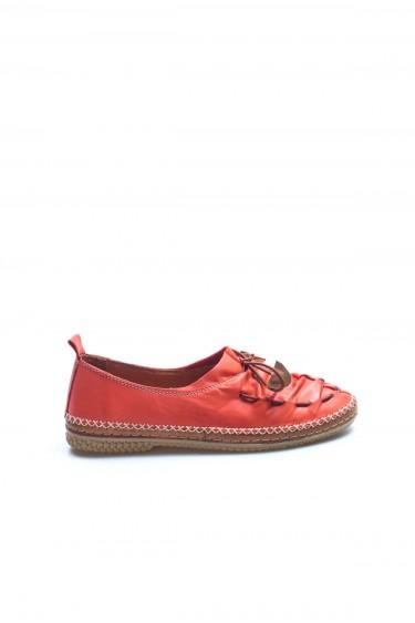 Hakiki Deri Kırmızı Kadın Babet Ayakkabı 942ZA704