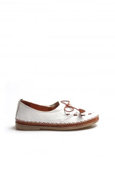 Hakiki Deri Beyaz Kadın Babet Ayakkabı 942ZA704