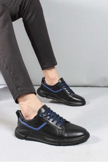 Hakiki Deri Siyah Erkek Günlük Spor Ayakkabı 948MA168