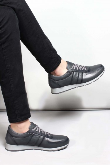 Hakiki Deri Gri Erkek Günlük Spor Ayakkabı 951MA555