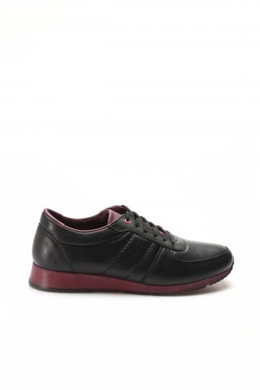 Hakiki Deri Siyah Bordo Erkek Günlük Spor Ayakkabı 951MA555