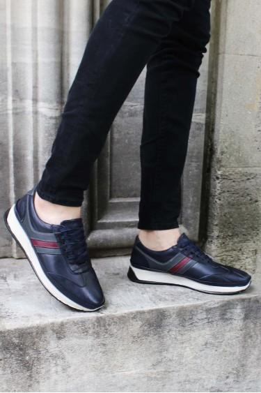 Hakiki Deri Lacivert Erkek Günlük Spor Ayakkabı 951MA652