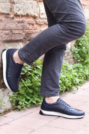 Hakiki Deri Lacivert Erkek Günlük Spor Ayakkabı 951MA653
