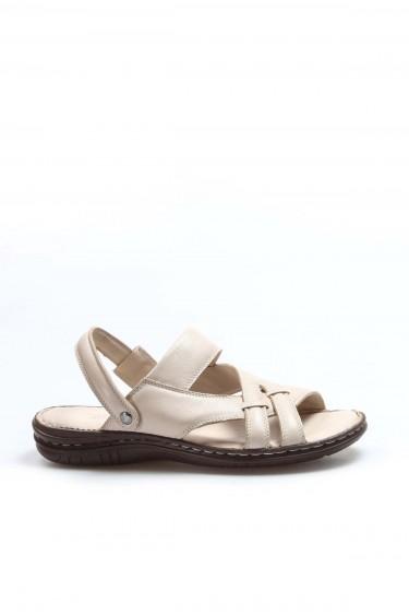 Hakiki Deri Bej Erkek Klasik Sandalet 952MA710