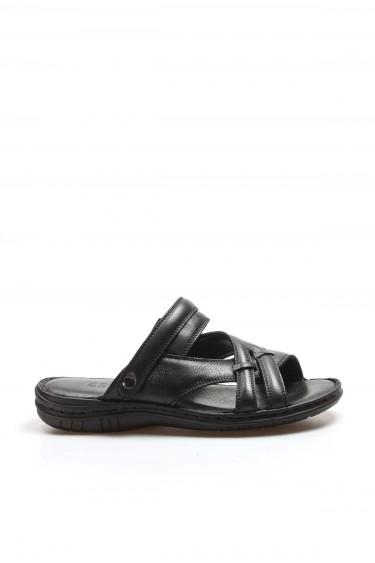 Hakiki Deri Siyah Erkek Klasik Sandalet 952MA710