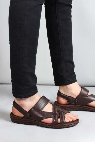 Hakiki Deri Kahve Erkek Klasik Sandalet 952MA710