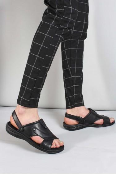 Hakiki Deri Siyah Erkek Klasik Sandalet 952MA312