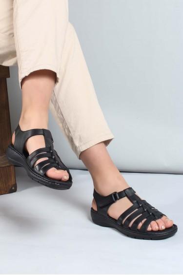 Hakiki Deri Siyah Kadın Klasik Sandalet 952ZA21888-1