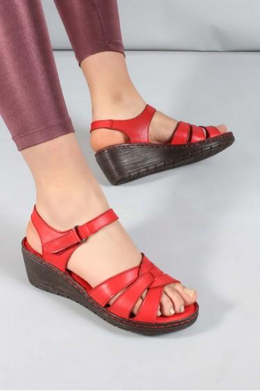 Hakiki Deri Kırmızı Kadın Topuklu Sandalet 952ZA21886