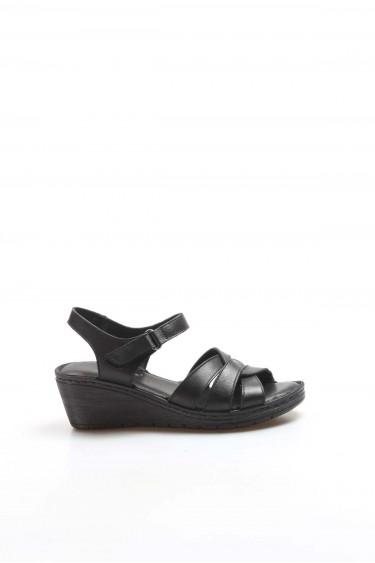 Hakiki Deri Siyah Kadın Topuklu Sandalet 952ZA21886