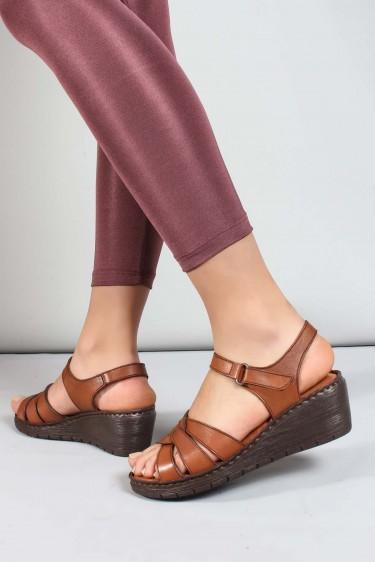 Hakiki Deri Taba Kadın Topuklu Sandalet 952ZA21886