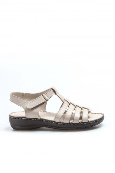 Hakiki Deri Bej Kadın Klasik Sandalet 952ZA21888-1