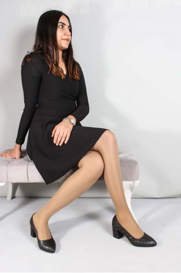 Siyah Kadın Kısa Topuklu Ayakkabı 961ZA550