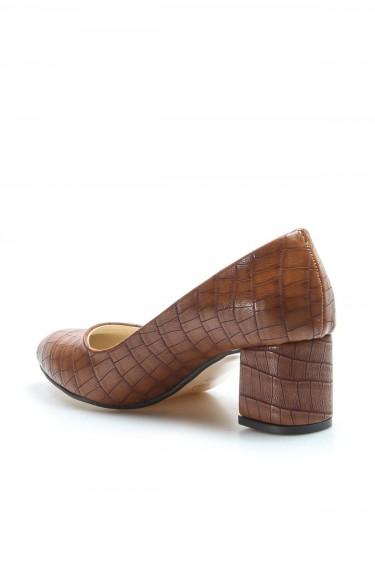 Taba Kroko Kadın Kısa Topuklu Ayakkabı 961ZA551
