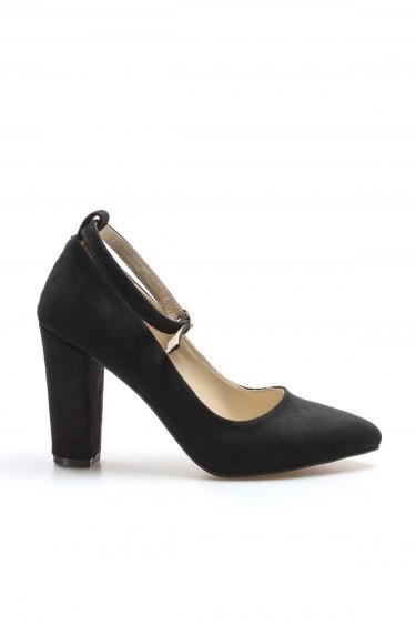 Siyah Süet Kadın Yüksek Topuk Ayakkabı 961ZA552
