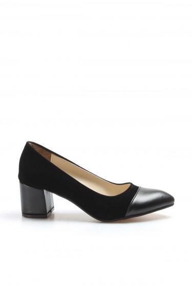 Siyah Süet Kadın Kısa Topuklu Ayakkabı 961ZA553