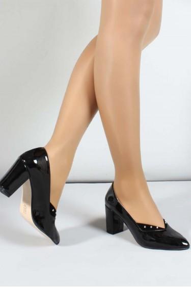 Siyah Rugan Kadın Yüksek Topuk Ayakkabı 961ZA556