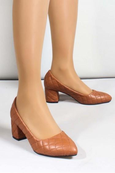 Taba Kadın Kısa Topuklu Ayakkabı 961ZA550
