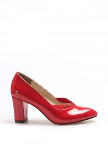 Kırmızı Rugan Kadın Yüksek Topuk Ayakkabı 961ZA556