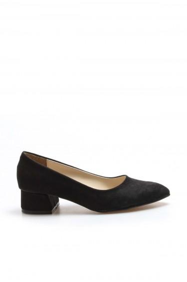 Siyah Süet Kadın Kısa Topuklu Ayakkabı 961ZA558