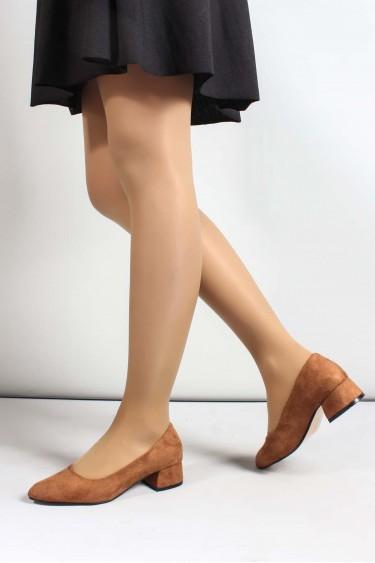 Taba Süet Kadın Kısa Topuklu Ayakkabı 961ZA558