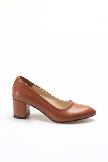 Taba Kadın Kalın Topuklu Ayakkabı 961ZA559
