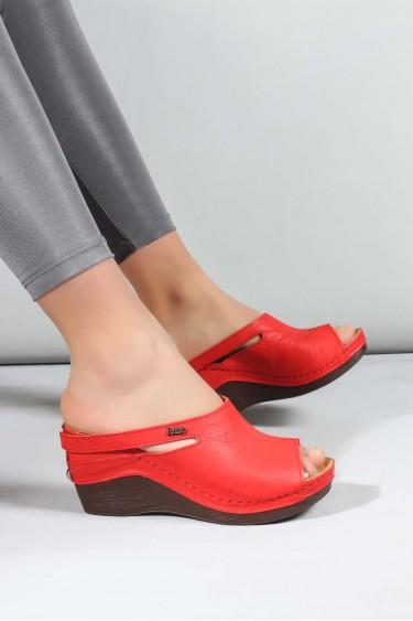 Hakiki Deri Kırmızı Kadın Dolgu Topuk Terlik 972ZA1001