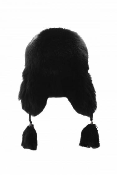 Hakiki Deri Kürklü Siyah Unisex Pilot Kulaklıklı Şapka - Bere 975SPKA5000