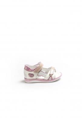 Hakiki Deri Beyaz Saten Bebek Klasik Sandalet 006BA700