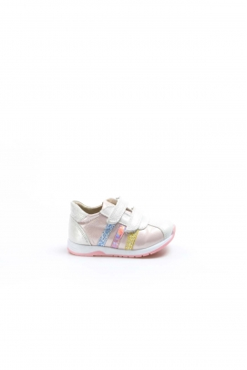 Hakiki Deri Gümüş Pembe Bebek Casual Ayakkabı 006BA800