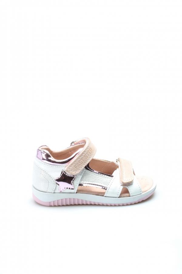 Hakiki Deri Beyaz Saten Unisex Çocuk Klasik Sandalet 006FA700