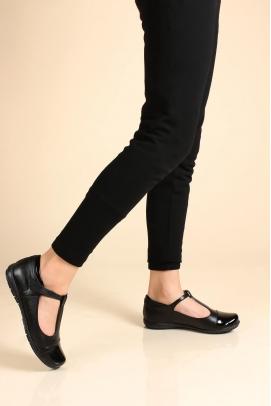 Hakiki Deri Siyah Rugan Kız Çocuk Casual Ayakkabı 006FA901