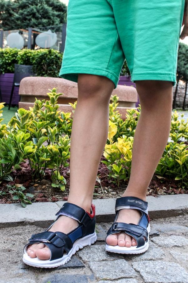 Hakiki Deri Lacivert Unisex Çocuk Klasik Sandalet 006PA700
