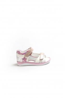 Hakiki Deri Beyaz Saten Unisex Çocuk Klasik Sandalet 006PA700