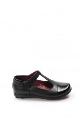 Hakiki Deri Siyah Rugan Kız Çocuk Casual Ayakkabı 006PA901